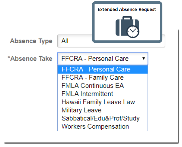 selection menu of FFCRA reporting codes for employee absences done easily with cherryroad technologies' employee management solutions